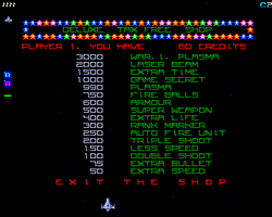 This is the shop front in Deluxe Galaga. The War 1 Plasma is EPIC!